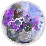 Symphony In Blue And Purple Round Beach Towel
