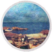 Symphony Of Silence Round Beach Towel