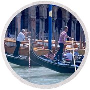 Syncronized Gondoliers Round Beach Towel