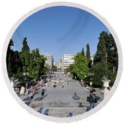 Syntagma Square In Athens Round Beach Towel