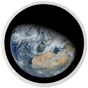 Synthesized View Of Earth Showing North Round Beach Towel