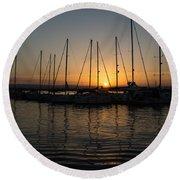 Syracuse Harbor Sunset Round Beach Towel