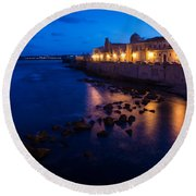 Syracuse Sicily Blue Hour - Ortygia Evening Mood Round Beach Towel