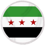 Syria Republic Flag Round Beach Towel