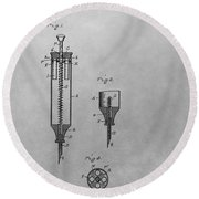 Syringe Patent Drawing Round Beach Towel
