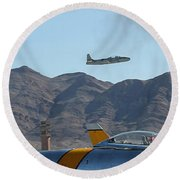 T-33 Shooting Star Flight Over Two Sabre's Round Beach Towel