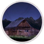 T. A. Moulton Homestead Barn At Night Round Beach Towel