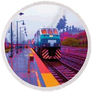 T Is For Train Round Beach Towel