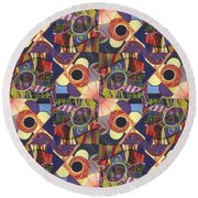 T J O D Tile Variations 10 Round Beach Towel