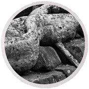 Ta Prohm Roots And Stone 06 Round Beach Towel