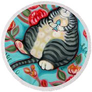 Tabby Cat On A Cushion Round Beach Towel