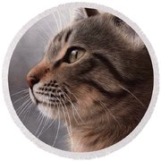 Tabby Cat Painting Round Beach Towel