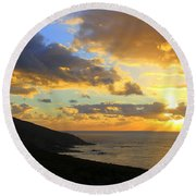 Table Mountain South Africa Sunset Round Beach Towel