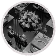 Table Setting Round Beach Towel
