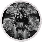 Table Settings On Dining Table Round Beach Towel