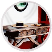Table With Hat And Book Round Beach Towel