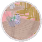 Tables And Chairs Round Beach Towel