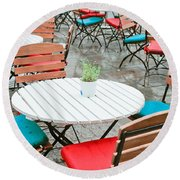 Tables And Chairs Round Beach Towel by Tom Gowanlock