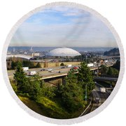 Tacoma Dome And Auto Museum Round Beach Towel