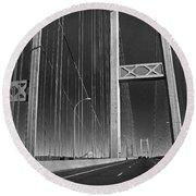 Tacoma Narrows Bridge B W Round Beach Towel