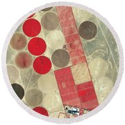 Tadco Farm Saudi Arabia Satellite Round Beach Towel by GeoEye
