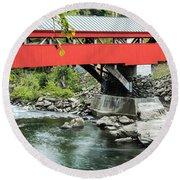 Taftsville Covered Bridge Vermont Round Beach Towel by Edward Fielding