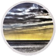 Big Clouds Over Tagus River Round Beach Towel
