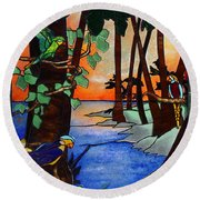 Tahiti Window Round Beach Towel
