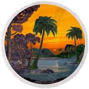 Tahitian Sunset Round Beach Towel