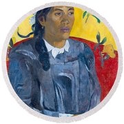 Tahitian Woman With A Flower Round Beach Towel