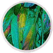 Tail Feathers Round Beach Towel