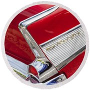 Tail Fins Are In 1957 Chevy Round Beach Towel