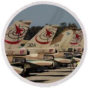 Tail Fins Of Israeli Air Force F-16`s Round Beach Towel