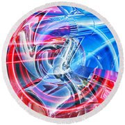 Tail Light Abstract Round Beach Towel