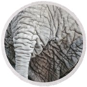 Tail Of African Elephant Round Beach Towel