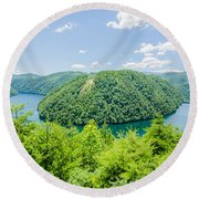 Tail Of The Dragon Scenic Road In Great Smoky Mountains Round Beach Towel