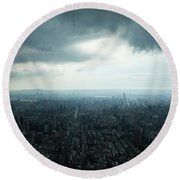 Taipei Under Heavy Clouds Round Beach Towel