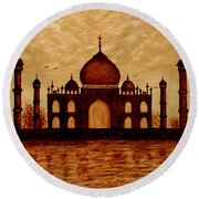 Taj Mahal Lovers Dream Original Coffee Painting Round Beach Towel