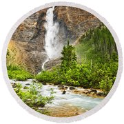 Takakkaw Falls Waterfall In Yoho National Park Canada Round Beach Towel