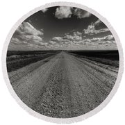 Take A Back Road Bnw Version Round Beach Towel