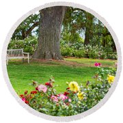 Take A Seat - Beautiful Rose Garden Of The Huntington Library. Round Beach Towel