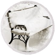 Take A Seat  And Chill Out - Park Bench - Winter - Snow Storm Bw Round Beach Towel