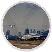 Take Off From London Round Beach Towel