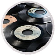 Take Those Old Records Off The Shelf Round Beach Towel