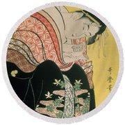Takigawa From The Tea House Ogi Round Beach Towel
