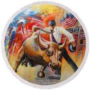 Taking On The Wall Street Bull Round Beach Towel
