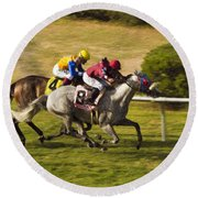 Taking Over - Del Mar Horse Race Round Beach Towel