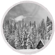 Taking Refuge - Grand Teton Round Beach Towel by Sandra Bronstein