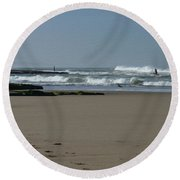 Taking Time To Enjoy The View As A Painting Round Beach Towel