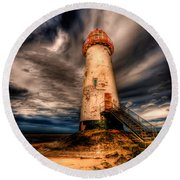 Talacre Lighthouse Round Beach Towel by Adrian Evans